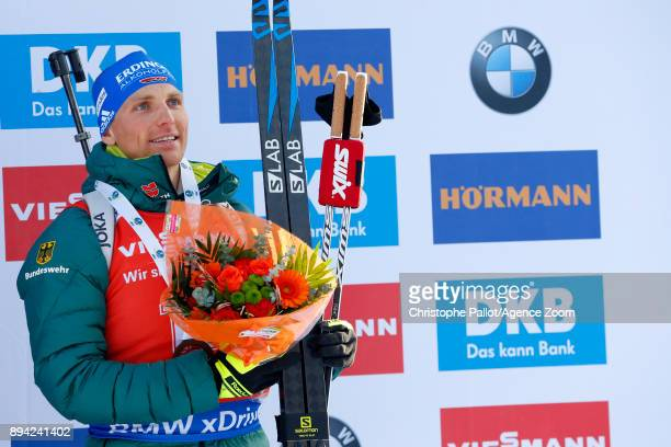 Erik Lesser of Germany takes 3rd place during the IBU Biathlon World Cup Men's and Women's Mass Start on December 17, 2017 in Le Grand Bornand,...