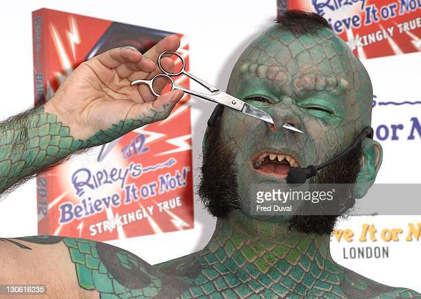 Erik 'Lizardman' Sprague launches Ripley's Believe It Or Not Halloween Book at Ripley's Belive It Or Not on October 27 2011 in London England
