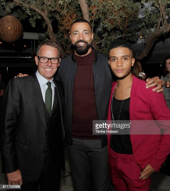 Erik Logan Timon Kyle Durrett and Nicholas L Ashe attend the taping of 'Queen Sugar AfterShow' after party on November 7 2017 in Los Angeles...