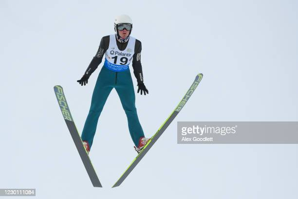 Erik Lynch of the United States competes during the men's HS 100 ski jumping event on Day 3 of the FIS Nordic Combined Continental Cup at Utah...
