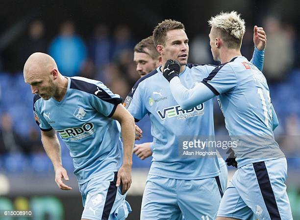 Erik Marxen of Randers FC and Marvin Pourie of Randers FC celebrates after scoring their third goal during the Danish Alka Superliga match between...