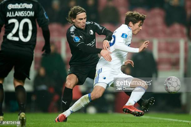 Erik Marxen of Randers FC and Robert Skov of FC Copenhagen compete for the ball during the Danish Alka Superliga match between FC Copenhagen and...