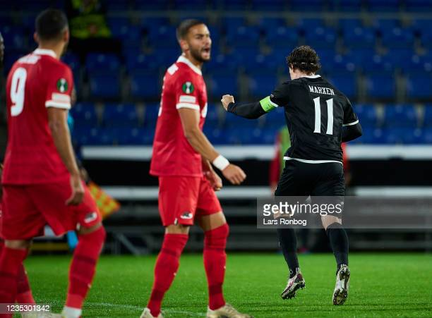 Erik Marxen of Randers FC celebrates after scoring their second goal during the UEFA Conference League match between Randers FC and AZ Alkmaar at...