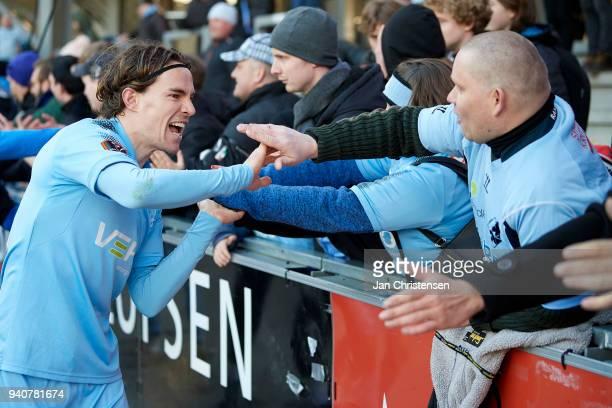 Erik Marxen of Randers FC celebrating with fans after the Danish Alka Superliga match between Randers FC and Lyngby BK at BioNutria Park Randers on...