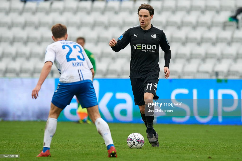 Erik Marxen of Randers FC in action during the Danish Alka Superliga match between OB Odense and Randers FC at EWII Park on April 15, 2018 in Odense, Denmark.