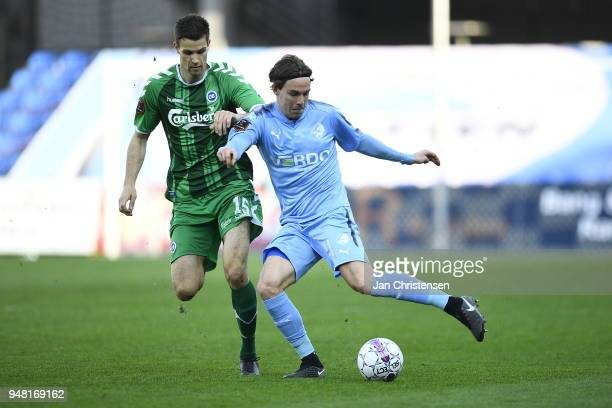 Erik Marxen of Randers FC in action during the Danish Alka Superliga match between Randers FC and OB Odense at BioNutria Park Randers on April 18...