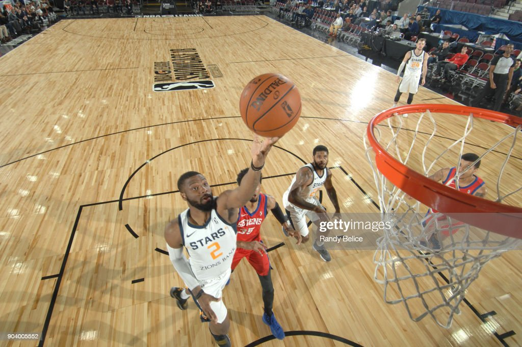 Erik McCree #2 of the Salt Lake City Stars shoots the ball during the game against the Delaware 87ers at the NBA G League Showcase Game 12 on January 11, 2018 at the Hershey Centre in Mississauga, Ontario Canada.