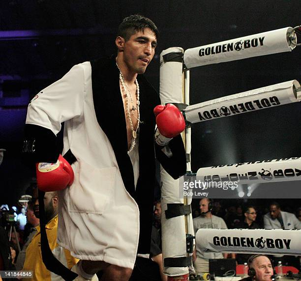 Erik Morales enters the ring for his fight against at Reliant Arena at Reliant Park on March 24 2012 in Houston Texas
