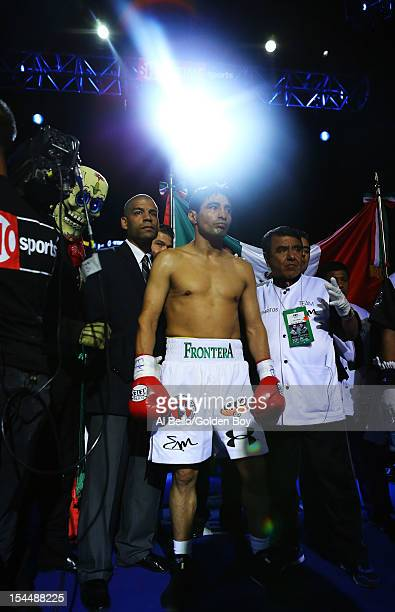 Erik Morales stands in the ring before his fight against Danny Garcia before their WBC/WBA junior welterweight title at the Barclays Center on...