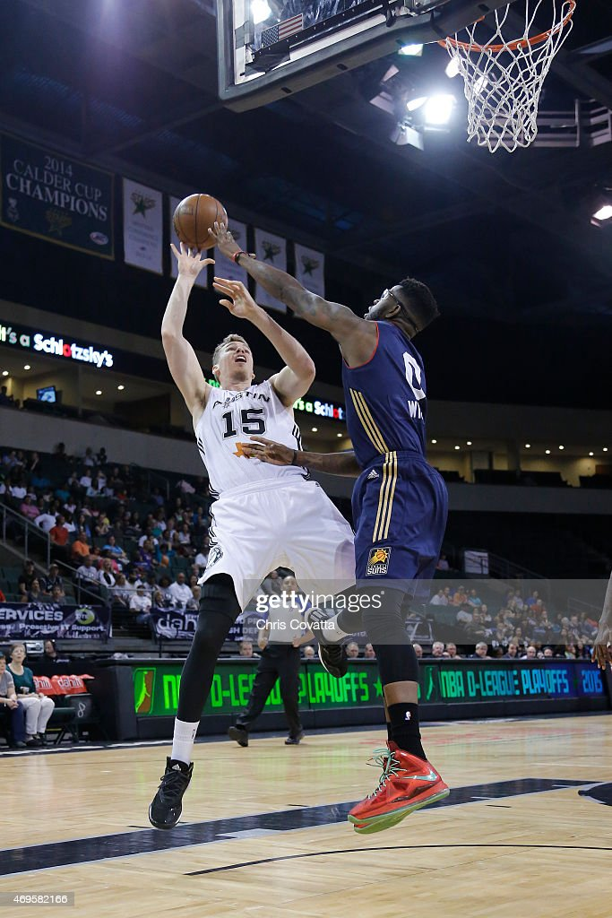 Erik Murphy #15 of the Austin Spurs shoots the ball against the Bakersfield Jam in game three of the 2015 D-League playoffs at the Cedar Park Center on April 12, 2015 in Cedar Park, Texas.