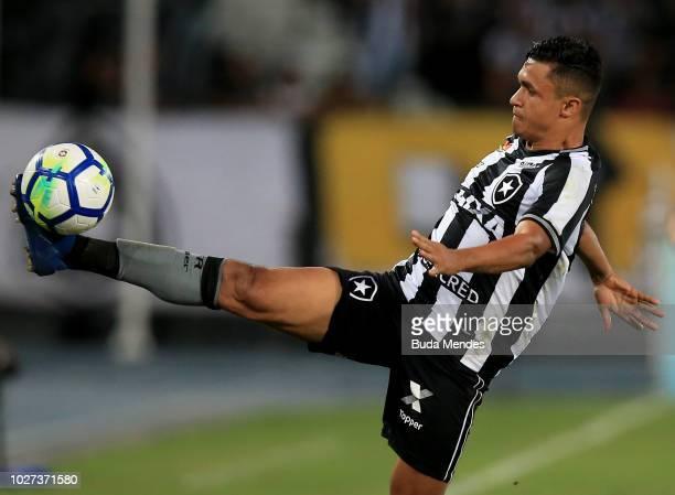 Erik of Botafogo controls the ball during a match between Botafogo and Cruzeiro as part of Brasileirao Series A 2018 at Nilton Santos Stadium on...