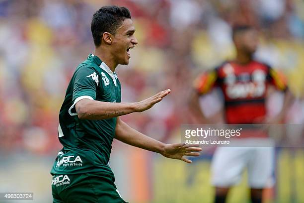 Erik of Goias celebrates a scored goal during the match between Flamengo and Goias as part of Brasileirao Series A 2015 at Maracana Stadium on...