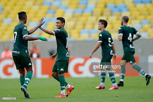 Erik of Goias celebrates a scored goal with Bruno Henrique during the match between Flamengo and Goias as part of Brasileirao Series A 2015 at...