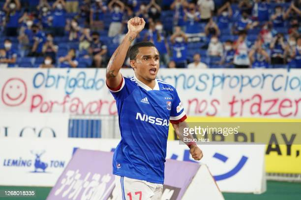 Erik of Yokohama F.Marinos celebrates scoring his side's third goal during the J.League Meiji Yasuda J1 match between Yokohama F.Marinos and...