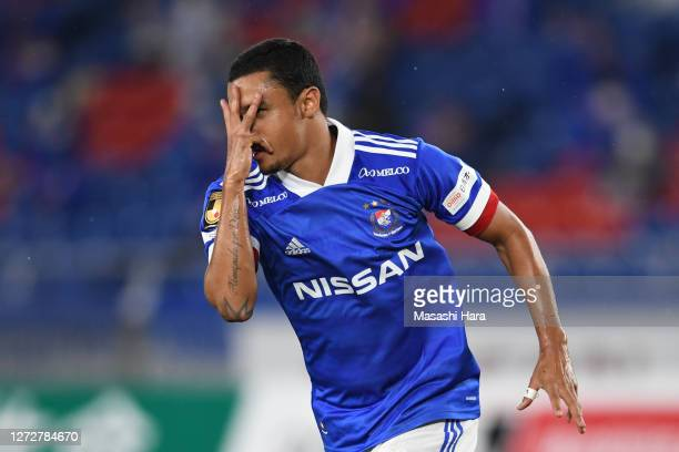 Erik of Yokohama F.Marinos celebrates the first goal during the J.League Meiji Yasuda J1 match between Yokohama F.Marinos and Shimizu S-Pulse at...