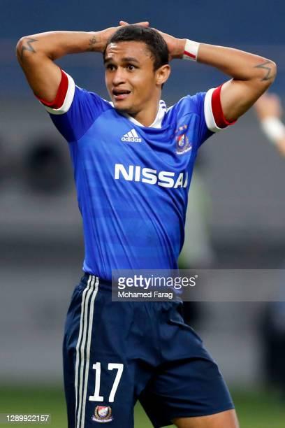 Erik of Yokohama F.Marinos reacts during the AFC Champions League Round of 16 match between Yokohama F.Marinos and Suwon Samsung Bluewings at the...