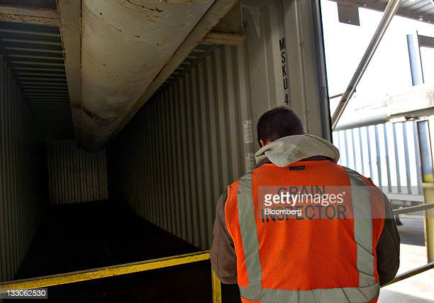 Erik Papineau a grain inspector with Kankakee Grain Inspection Service takes notes on a container before it is filled with soybeans at a DeLong Co...