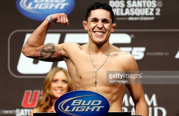 Erik Perez flexes during the UFC 155 weigh-in on December 28, 2012 at MGM Grand Garden Arena in Las Vegas, Nevada.