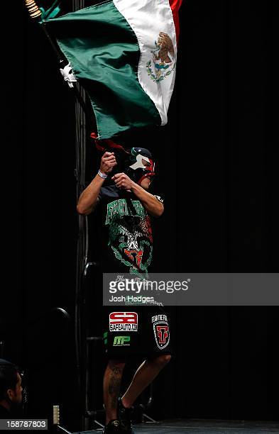 Erik Perez walks on stage in during the UFC 155 weigh-in on December 28, 2012 at MGM Grand Garden Arena in Las Vegas, Nevada.
