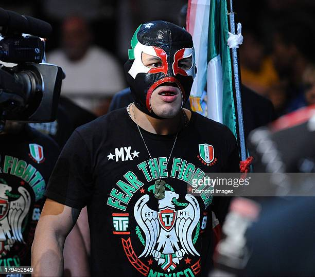 Erik Perez walks to the octagon before a bantamweight bout during UFC Fight Night 27 Condit v Kampmann 2 at Bankers Life Field House in Indianapolis,...