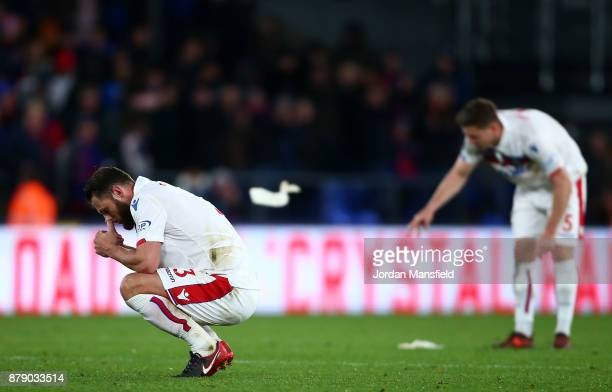 Erik Pieters and Kevin Wimmer of Stoke City look dejected following the Premier League match between Crystal Palace and Stoke City at Selhurst Park...
