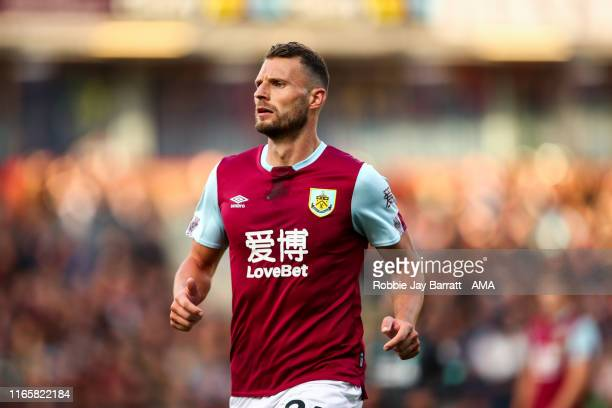 Erik Pieters of Burnley during the Premier League match between Burnley FC and Liverpool FC at Turf Moor on August 31 2019 in Burnley United Kingdom