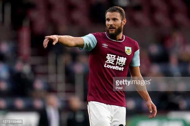 Erik Pieters of Burnley reacts during the Carabao Cup second round match between Burnley and Sheffield United at Turf Moor on September 17 2020 in...