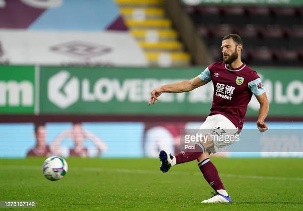 Erik Pieters of Burnley takes a penalty in the shoot out during the Carabao Cup second round match between Burnley and Sheffield United at Turf Moor...