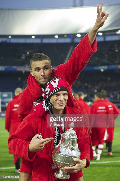Erik Pieters of PSVZakaria Labyad of PSV during the Dutch Cup final match between PSV Eindhoven and Heracles Almelo at the Kuip stadium on April 08...