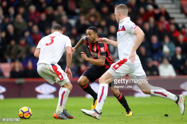Erik Pieters of Stoke City chases down Callum Wilson of AFC Bournemouth during the Premier League match between AFC Bournemouth and Stoke City at...