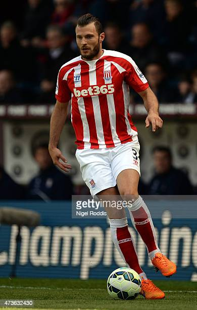 Erik Pieters of Stoke City during the Barclays Premier League match between Burnley and Stoke City at Turf Moor on May 16 2015 in Burnley England