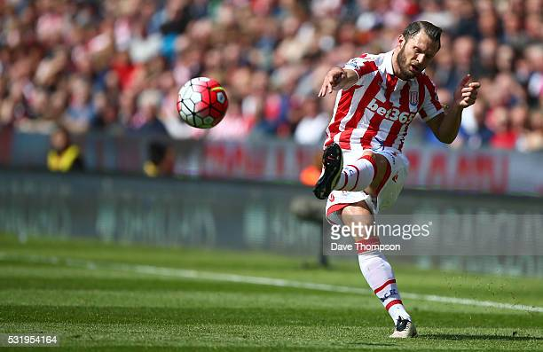 Erik Pieters of Stoke City during the Barclays Premier League match between Stoke City and West Ham United at the Britannia Stadium on May 15 2016 in...