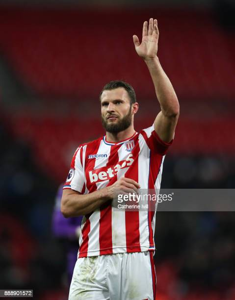 Erik Pieters of Stoke City during the Premier League match between Tottenham Hotspur and Stoke City at Wembley Stadium on December 9 2017 in London...