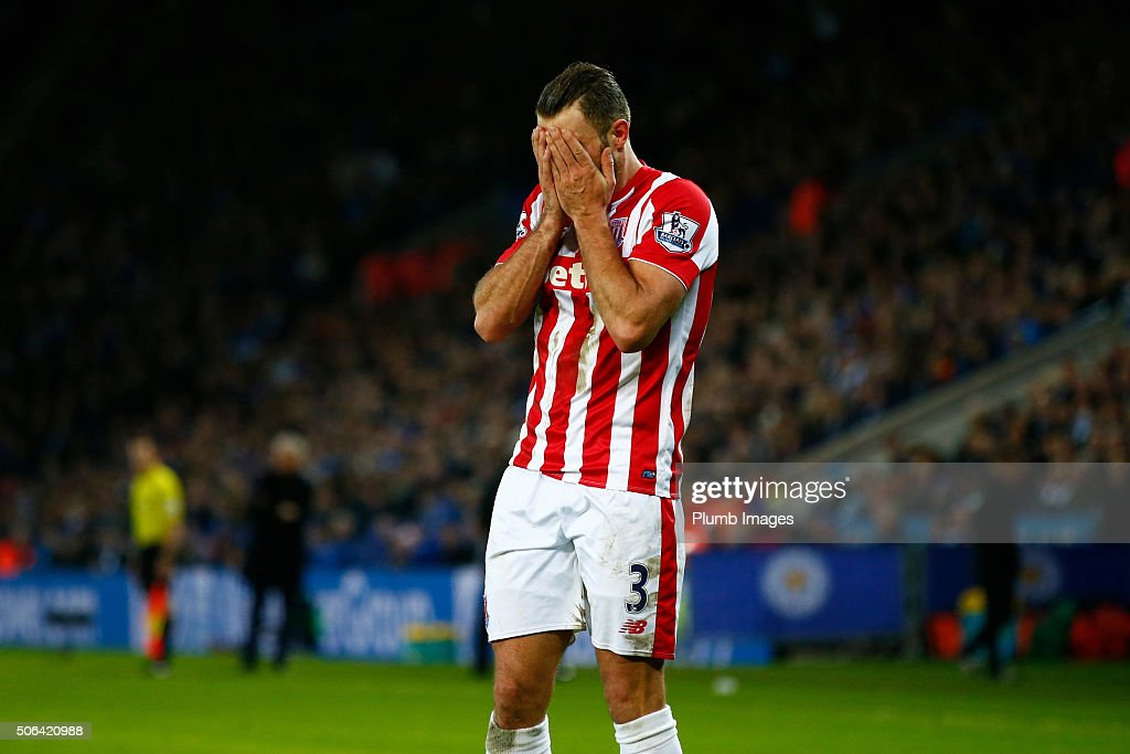 Erik Pieters of Stoke City hangs his head in shame after losing 3-0 during the Barclays Premier League match between Leicester City and Stoke City at the King Power Stadium on January 23 , 2016 in Leicester, United Kingdom.