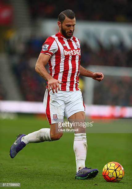 Erik Pieters of Stoke City in action during the Barclays Premier League match between Stoke City and Aston Villa at Britannia Stadium on February 27...