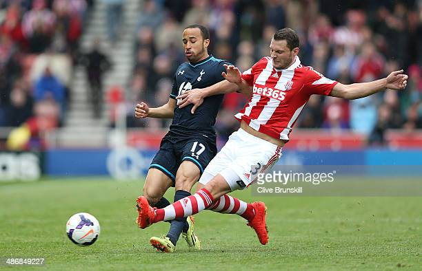 Erik Pieters of Stoke City in action with Andros Townsend of Tottenham Hotspur during the Barclays Premier League match between Stoke City and...