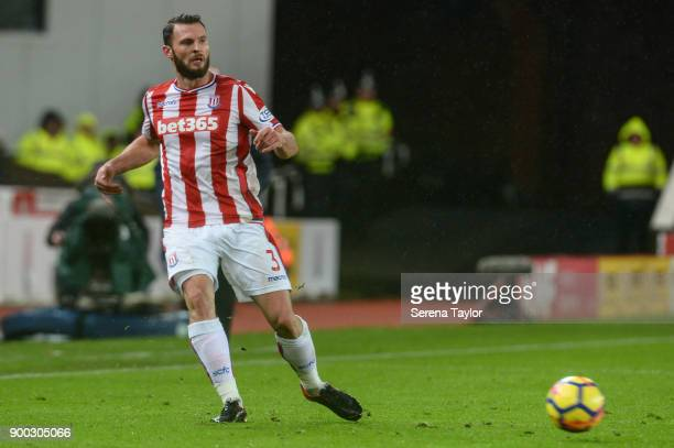 Erik Pieters of Stoke City passes the ball during the Premier League match between Stoke City and Newcastle United at Bet365 Stadium on January 1 in...