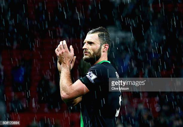 Erik Pieters of Stoke City waves to the fans after the Barclays Premier League match between Manchester United and Stoke City at Old Trafford on...