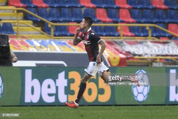 Erik Pulgar of Bologna FC celebrates after scoring his team's second goal during the serie A match between Bologna FC and US Sassuolo at Stadio...