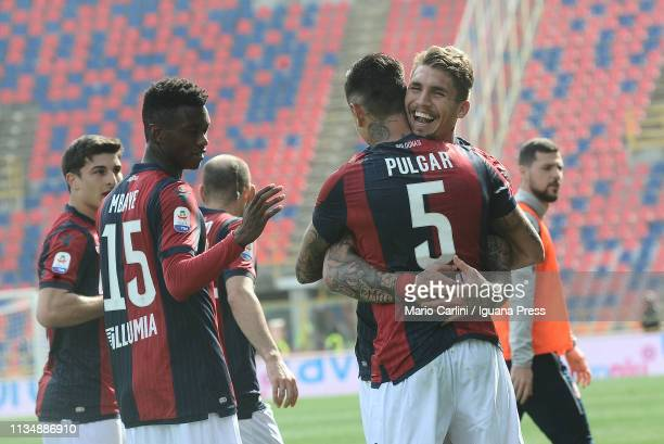 Erik Pulgar of Bologna FC celebrates after scoring the opening goal from the penalty spot during the Serie A match between Bologna FC and Cagliari at...