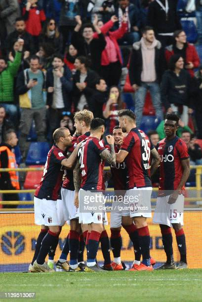 Erik Pulgar of Bologna FC clebrates after scoring a goal from the penalty spot during the Serie A match between Bologna FC and US Sassuolo at Stadio...