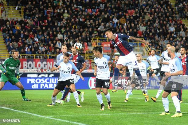 Erik Pulgar of Bologna FC heads the ball towards the goal during the Serie A match between Bologna FC and FC Internazionale at Stadio Renato Dall'Ara...