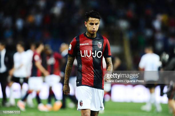 Erik Pulgar of Bologna FC looks dejected at the end of the serie A match between Bologna FC and FC Internazionale at Stadio Renato Dall'Ara on...