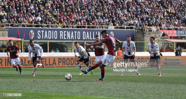 Erik Pulgar of Bologna score his team's opening goal with penalty during the Serie A match between Bologna FC and Cagliari at Stadio Renato Dall'Ara...