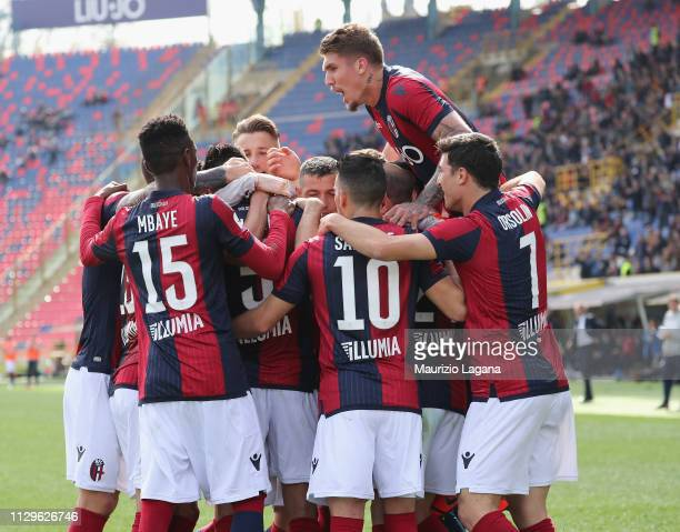 Erik Pulgar of Bologna scores his team's opening goal with penalty during the Serie A match between Bologna FC and Cagliari at Stadio Renato Dall'Ara...