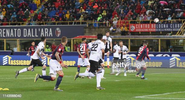 Erik Pulgar of Bologna scores his team's second goal during the Serie A match between Bologna FC and Parma Calcio at Stadio Renato Dall'Ara on May 13...