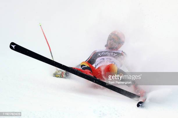 Erik Read of Canada crashes on the Birds of Prey course during the Audi FIS Alpine Ski World Cup Men's Giant Slalom on December 08 2019 in Beaver...