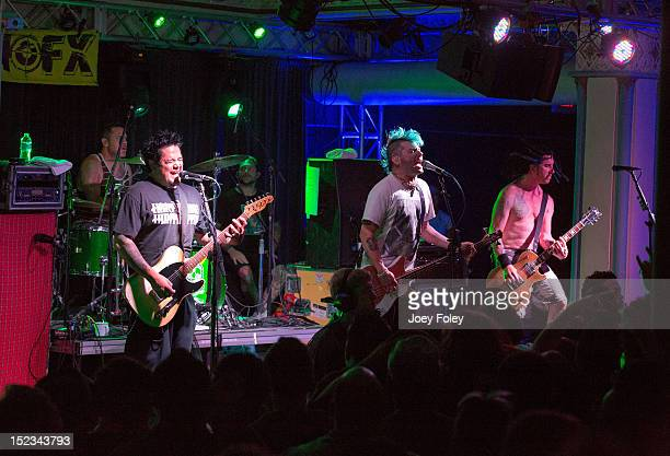 Erik Sandin El Hefe Fat Mike and Eric Melvin of NOFX performs onstage at Old National Centre on September 18 2012 in Indianapolis Indiana