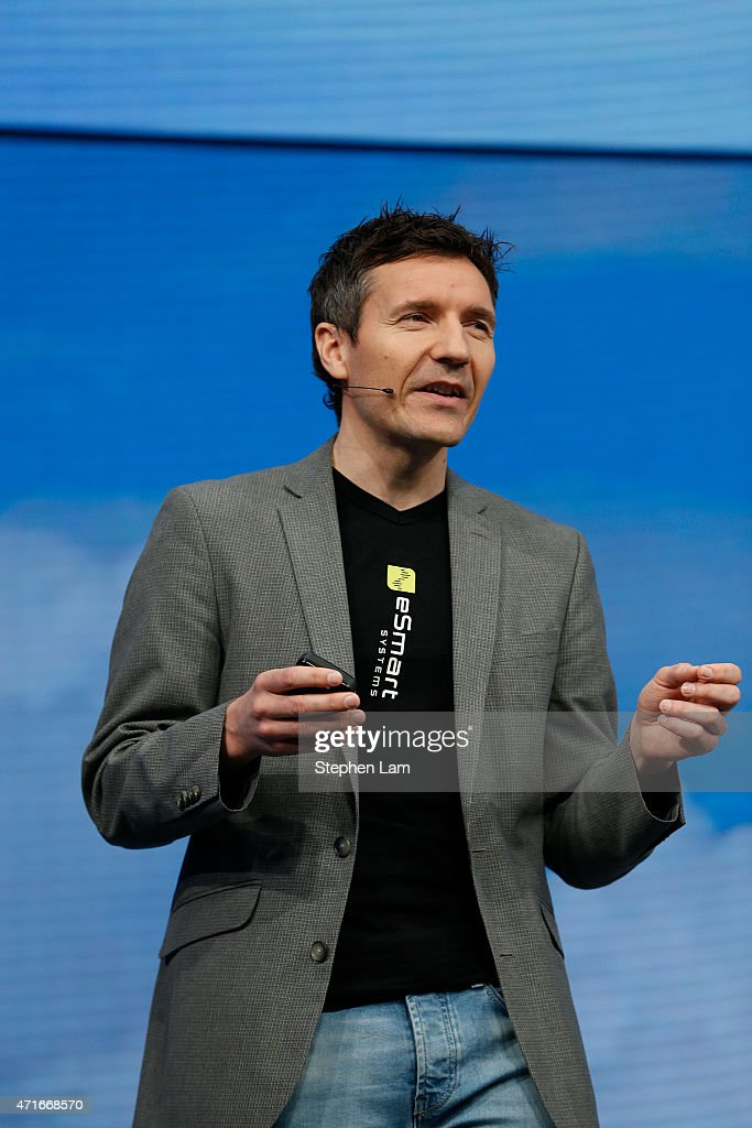 Erik Ãsberg, head of development and product architect at eSmart Systems, speaks on stage during the 2015 Microsoft Build Conference on April 30, 2015 at Moscone Center in San Francisco, California. Thousands are expected to attend the annual developer conference which runs through May 1.