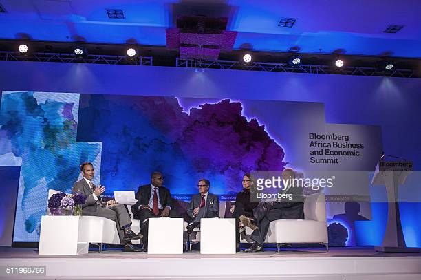 Erik Schatzker Bloomberg Television anchor left hosts a panel session with Ben Magara chief executive officer of Lonmin Plc second left Peter Grauer...
